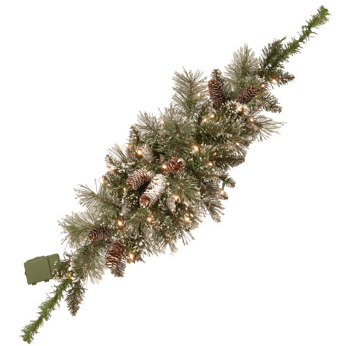 """36"""" Glittery Bristle Pine Battery Operated Artificial Christmas Mailbox Swag - Warm White LED Lights - IMAGE 1"""