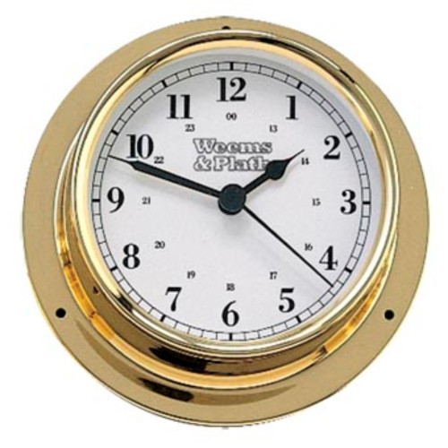 """6"""" Gold and White Round Battery Operated Wall Clock - IMAGE 1"""