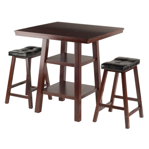 """Set of 3 Rich Walnut High Table with Shelves and Cushion Saddle Seat Stools 36"""" - IMAGE 1"""