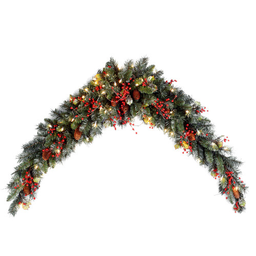 "72"" Pre-Lit Artificial Christmas Mantel Swag - Clear Lights - IMAGE 1"