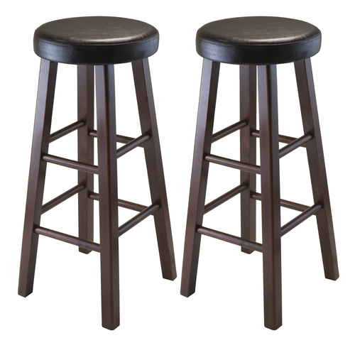 """Set of 2 Black and Brown Round Bar Stool with PU Leather Cushion Seat and Square Legs 25.25"""" - IMAGE 1"""