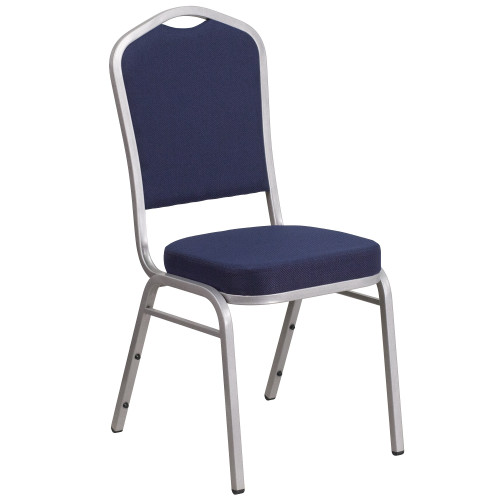 """38"""" Navy Blue and Silver Hercules Crown Back Stacking Banquet Chair - IMAGE 1"""