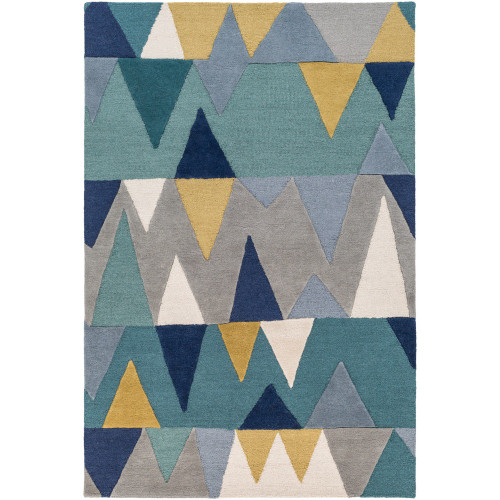 6' x 9' Blue and Gray Geometric Triangle Patterned Rectangular Hand Tufted Area Rug - IMAGE 1