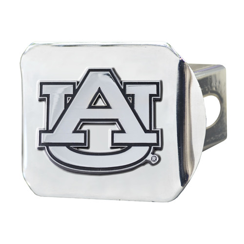 """4"""" x 3.25"""" Silver and Black NCAA Auburn University Tigers Hitch Cover Automotive Accessory - IMAGE 1"""