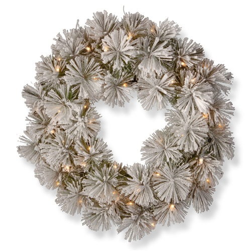 """24"""" Pre-Lit Snowy Bristle Pine Wreath with Battery Operated Warm White LED Lights - IMAGE 1"""