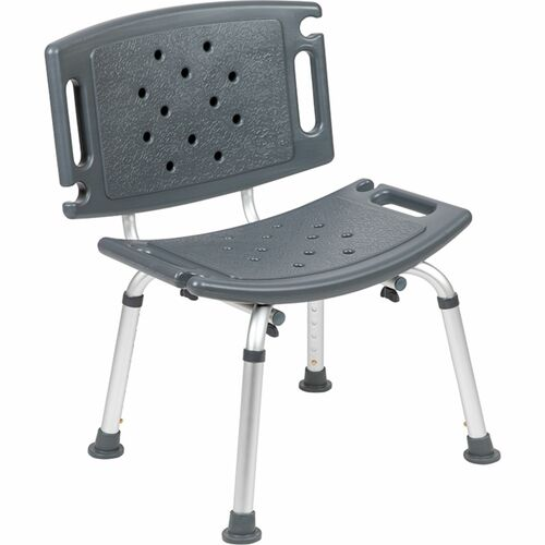 """32.25"""" Gray and Silver Medical Grade Shower Chair with Extra Large Back - IMAGE 1"""