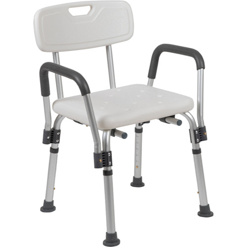 """33"""" White and Silver Adjustable Back Medical Grade Shower Chair - IMAGE 1"""