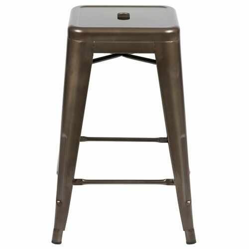 """Set of 4 Gray Counter-Height Stackable Bistro Bar Stools 24"""" - IMAGE 1"""