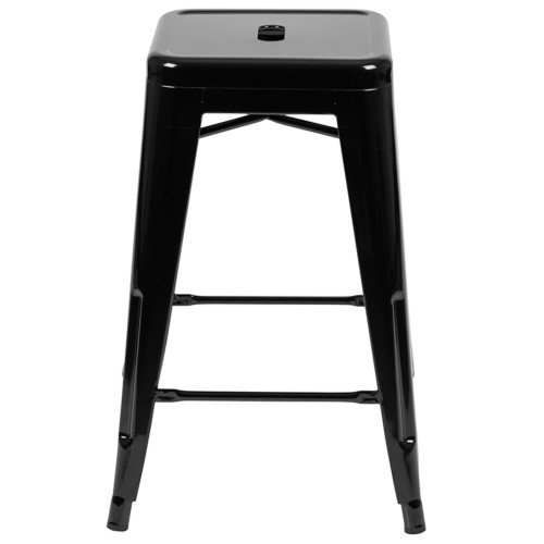 """Set of 4 Black Counter-Height Stackable Bistro Bar Stools 24"""" - IMAGE 1"""