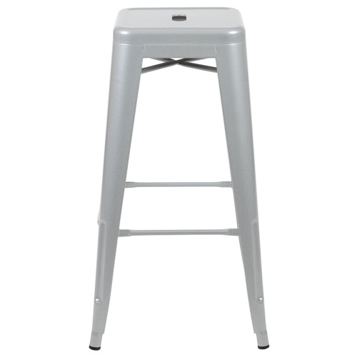"""Set of 4 Silver Counter-Height Stackable Bistro Bar Stools 30"""" - IMAGE 1"""