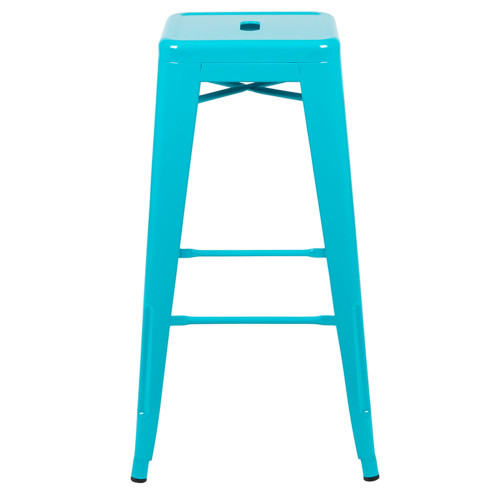 """Set of 4 Teal Blue Counter-Height Stackable Bistro Bar Stools 30"""" - IMAGE 1"""