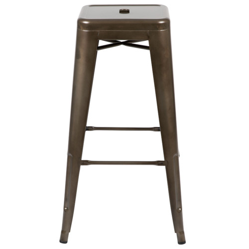 "Set of 4 Gray Counter-Height Stackable Bistro Bar Stools 30"" - IMAGE 1"