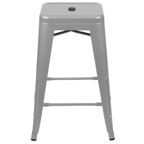 """Set of 4 Silver Counter-Height Stackable Bistro Bar Stools 24"""" - IMAGE 1"""