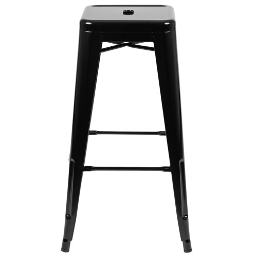 """Set of 4 Black Counter-Height Stackable Bistro Bar Stools 30"""" - IMAGE 1"""