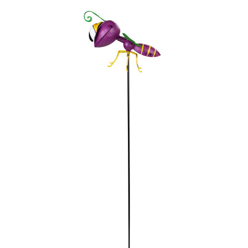 """30"""" Purple and Green Metal Wasp Garden Stake - IMAGE 1"""