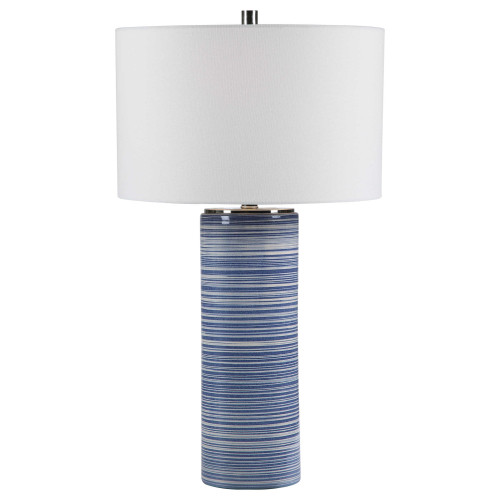 """29"""" Striped Table Lamp with White Round Hardback Drum Shade - IMAGE 1"""