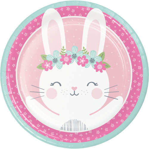 """Club Pack of 96 Blue and Pink Bunny Round Dinner Plates 8.75"""" - IMAGE 1"""