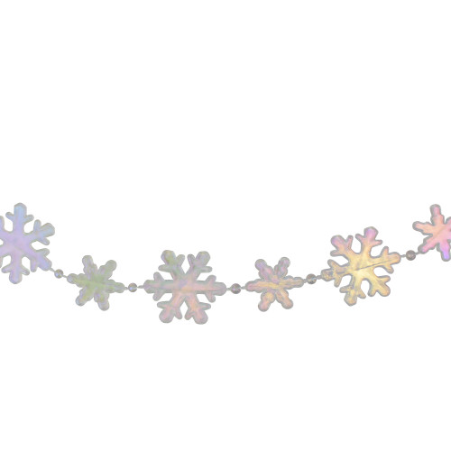 """8' x 1"""" Clear and Pink Iridescent Snowflake Beaded Artificial Christmas Garland - Unlit - IMAGE 1"""