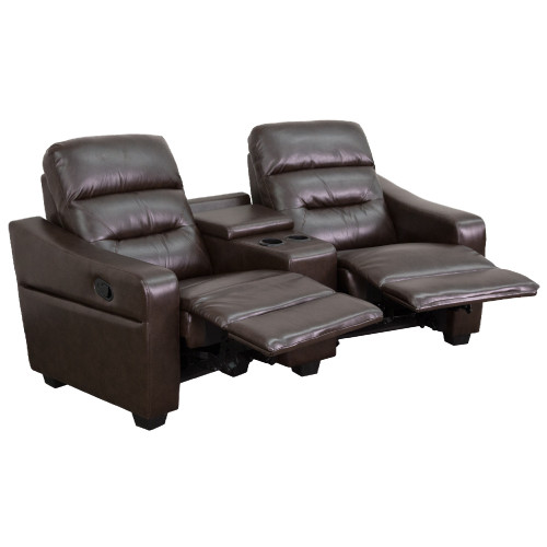 """2-Piece Brown Contemporary Reclining Theater Seating with Cup Holders 77"""" - IMAGE 1"""