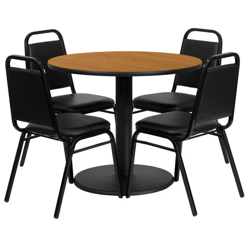 36'' Round Natural Laminate Table Set with Round Base and 4 Black Trapezoidal Back Banquet Chairs - IMAGE 1
