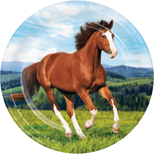 """Club Pack of 96 Brown and Green Horse Printed Dessert Plates 8.75"""" - IMAGE 1"""