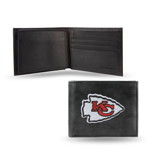 """4"""" Black and Red NFL Kansas City Chiefs Embroidered Billfold Wallet - IMAGE 1"""