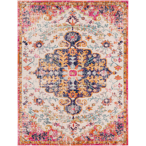 7.8' x 10.25' Medallion Patterned Pink and Purple Rectangular Area Throw Rug - IMAGE 1