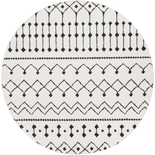 7.8' Moroccan Patterned White and Black Round Area Throw Rug - IMAGE 1