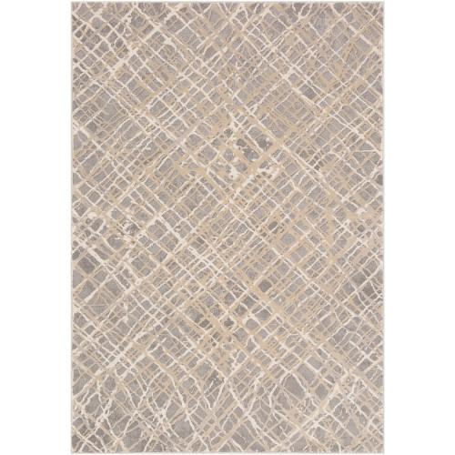 "9'3"" x 12'3"" Lattice Pattern Gray and Brown Rectangular Machine Woven Area Rug - IMAGE 1"