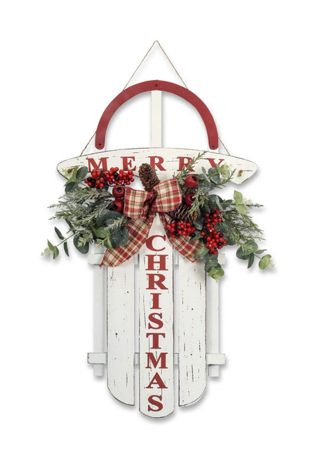 "27"" White and Red Christmas Sled with Pine and Berries Wall Hanging - IMAGE 1"