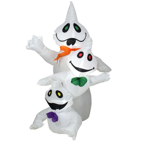 3.5' White and Black Pre-Lit Inflatable Ghost Trio Outdoor Halloween Yard Art Decor - IMAGE 1