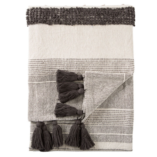 """Soft Charcoal Gray and Ivory Striped Fringed Throw Blanket 60"""" x 90"""" - IMAGE 1"""
