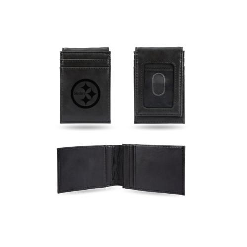 """4"""" Black NFL Pittsburgh Steelers Front Pocket Wallet - IMAGE 1"""