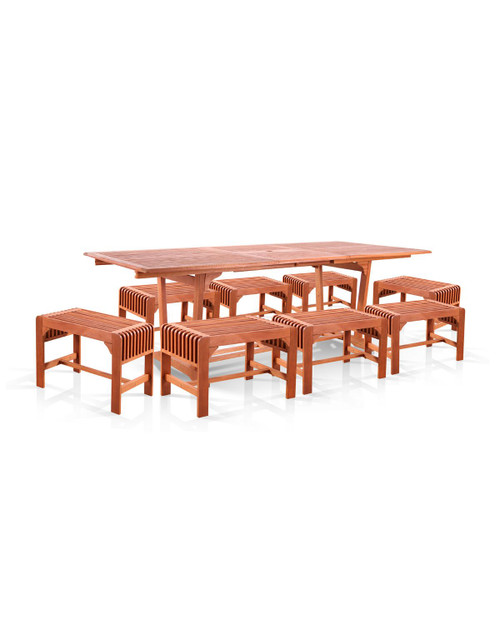 """9-Piece Brown Natural Wood Finish Extension Table Outdoor Furniture Patio Dining Set with Backless Chairs 91"""" - IMAGE 1"""