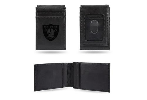 """4"""" Black NFL Oakland Raiders Front Pocket Wallet - IMAGE 1"""