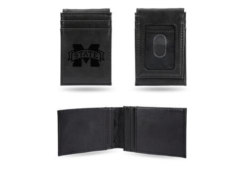 "4"" Black College Mississippi State Bulldogs Front Pocket Wallet - IMAGE 1"
