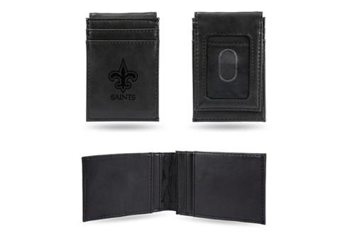 4 Black NFL New Orleans Saints Front Pocket Wallet - IMAGE 1