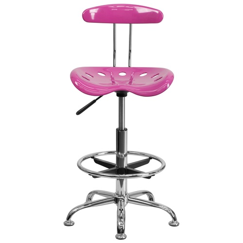 "41"" Candy Heart Pink Tractor Swivel Seat Drafting Stool with Chrome Foot Ring - IMAGE 1"