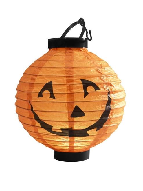 "9"" Orange and Black Light Up LED Pumpkin Lantern Halloween Decoration - IMAGE 1"