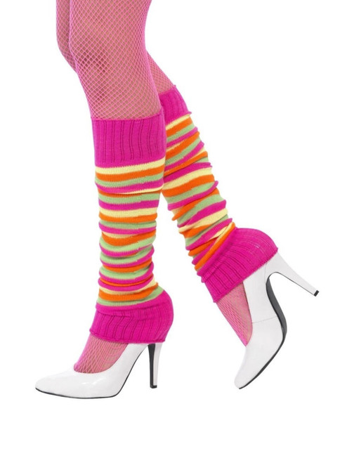 """20"""" Neon Pink and Green 1980's Style Striped Unisex Adult Halloween Legwarmers Costume Accessory - One Size - IMAGE 1"""