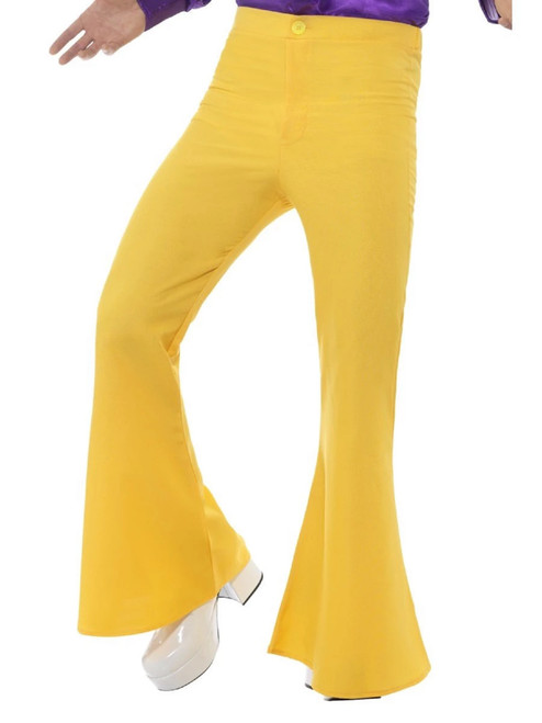 """47.5"""" Yellow 1960's Style Groovy Flared Trousers Men Adult Halloween Costume - Large - IMAGE 1"""