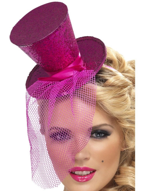 """38"""" Pink Fever Mini Top Women Adult Halloween Hat on Headband Costume Accessory - One Size - IMAGE 1"""