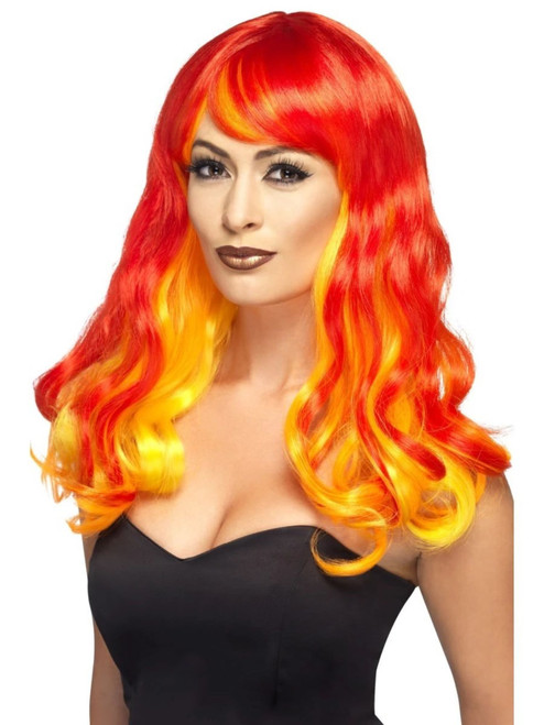 "26"" Red and Yellow Ombre Devil Flame Women Adult Halloween Wig Costume Accessory - One Size - IMAGE 1"