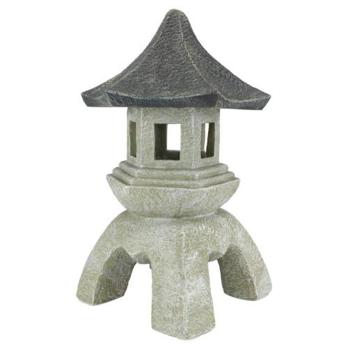 "17.5"" Gray and White Oriental Pagoda Lantern Sculpture - IMAGE 1"