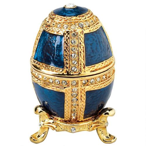 "2.5"" Blue and Gold Anya House of Romanov's Enameled Easter Egg - IMAGE 1"
