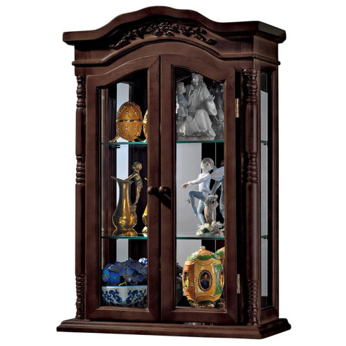 """27"""" Brown and Clear Beacon Hill Wall Hanging Curio Cabinet - IMAGE 1"""