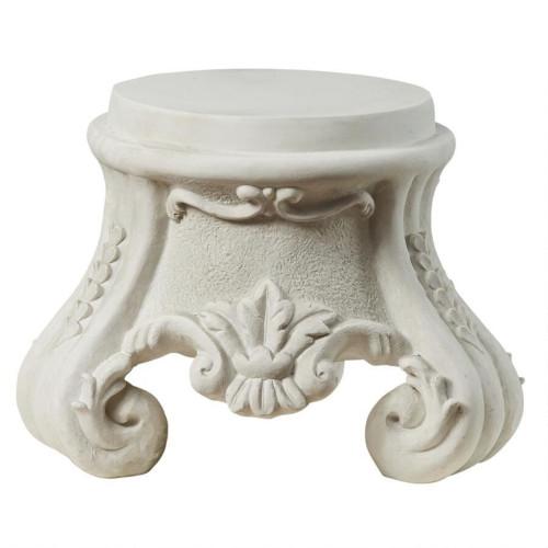 """21"""" White and Gray Rococo Sculptural Plinth Outdoor Garden Base - IMAGE 1"""