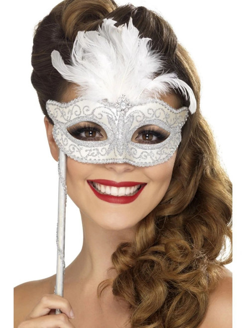 "40"" Silver and White Baroque Fantasy Women Halloween Eyemask Costume Accessory - One Size - IMAGE 1"