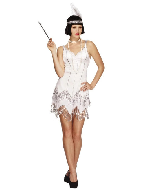 """50"""" White 1920's Style Fever Flapper Dazzle Women Adult Halloween Costume - Large - IMAGE 1"""