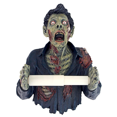 """11"""" Green and Red Spooky Zombie Toilet Paper Holder - IMAGE 1"""